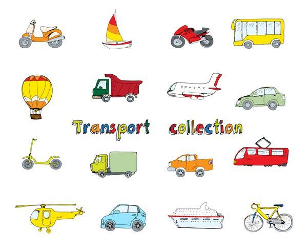 Set di doodle di trasporto colorato vettore