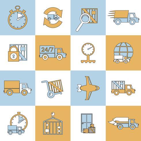 Icone di consegna impostate linea piatta vettore