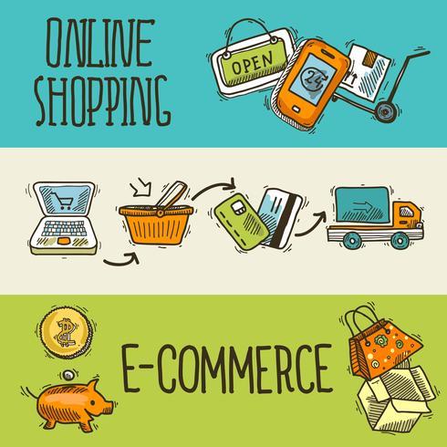 Banner di schizzo di progettazione e-commerce vettore