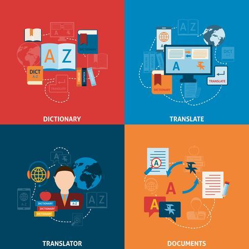 Composizione di icone piane di traduzione e dizionario vettore