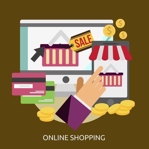 Progettazione concettuale dell'illustrazione di acquisto online vettore