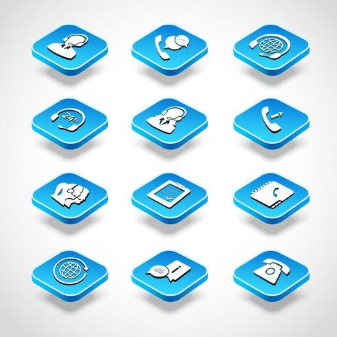 icone isometriche del call center vettore