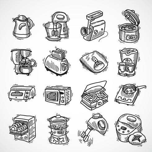 Schizzo di attrezzature da cucina vettore