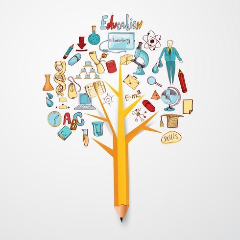 Concetto di educazione Doodle vettore