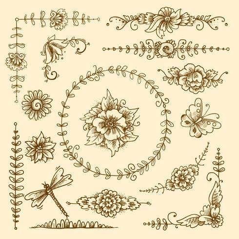 Elementi decorativi d'epoca vettore