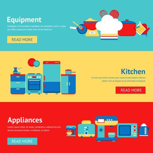 Set di banner di cucina vettore