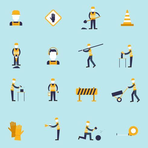 Icona piana di lavoratore della strada vettore