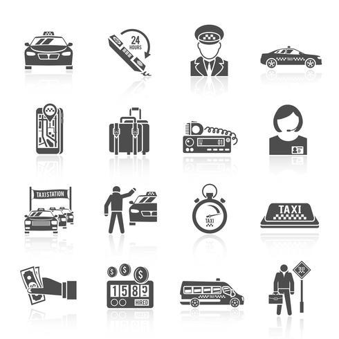 Set di icone di taxi nero vettore