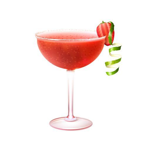 Cocktail dei daiquiri alla fragola realistico vettore