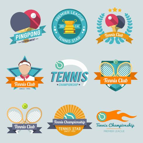 Set di etichette da tennis vettore