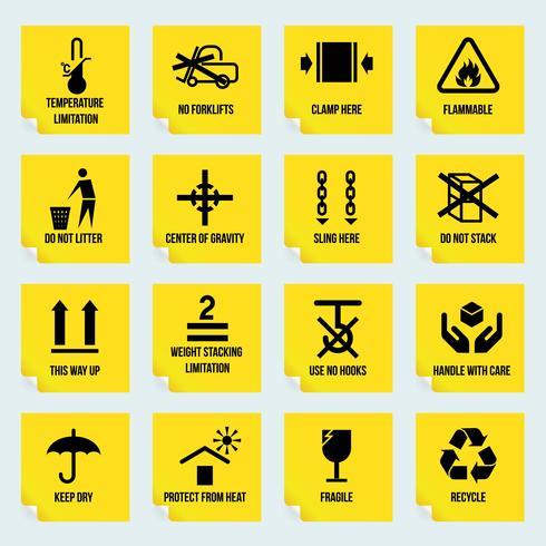 Maneggiare e simboli di imballaggio vettore