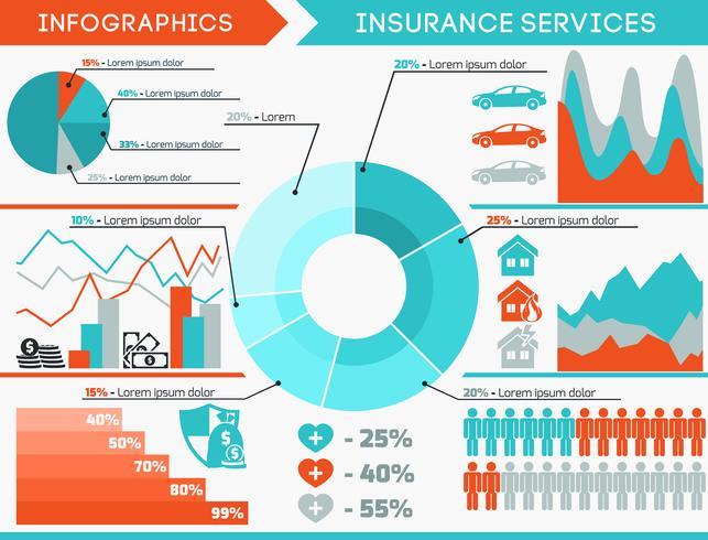 Insieme di infographics di assicurazione vettore