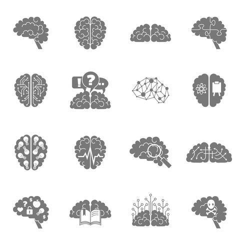 Icone del cervello nere vettore