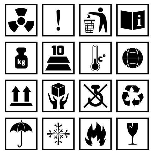 Simboli di imballaggio nero vettore