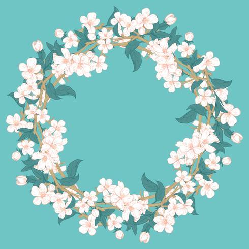 Modello rotondo del fiore di ciliegia su fondo blu del turchese vettore