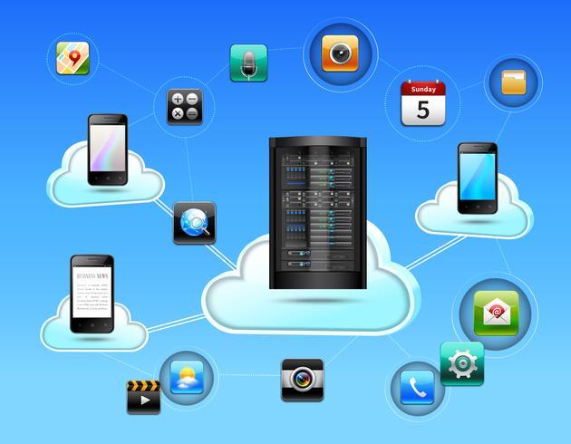 Concetto di rete cloud vettore