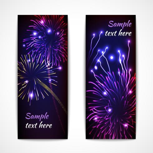 Banner verticale di fuochi d'artificio vettore