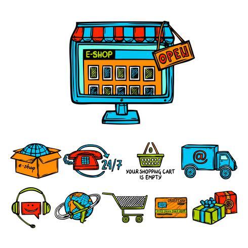 Set decorativo per lo shopping online vettore