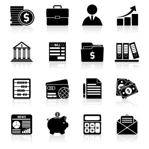 Icone di contabilità impostate in nero vettore