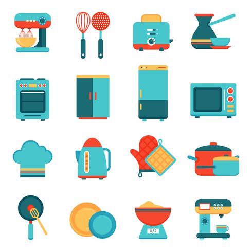 Set di icone di elettrodomestici da cucina vettore