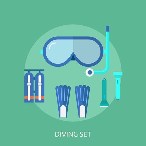 Progettazione stabilita dell'illustrazione dell'insieme di immersione subacquea vettore