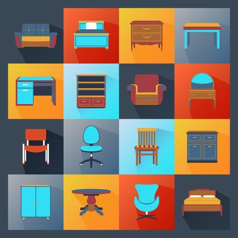 Icone di mobili piatte vettore