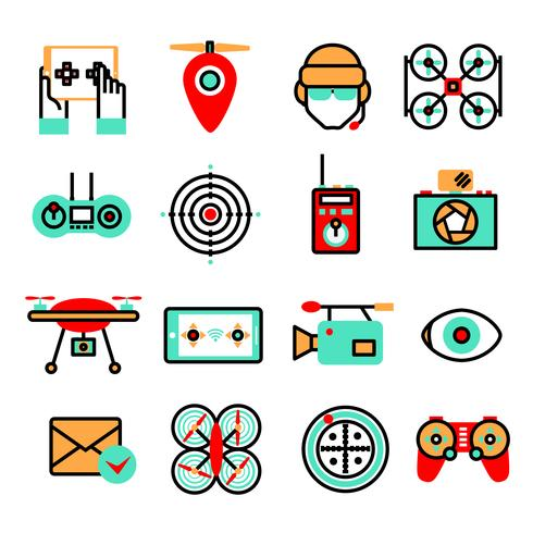 Set di icone di droni vettore