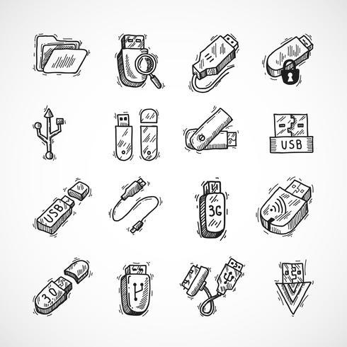 Set di icone USB vettore