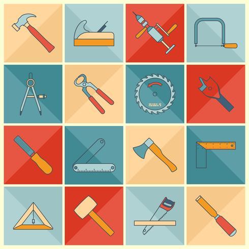 Icone di linea piatta di strumenti di carpenteria vettore