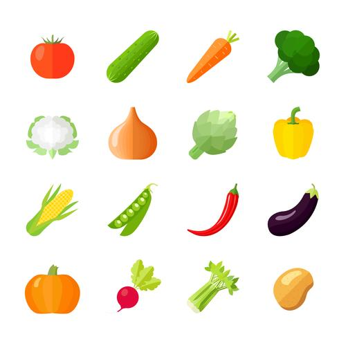 Icone di verdure piatte vettore