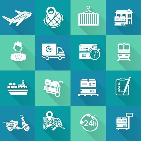 Set di icone logistiche bianco vettore