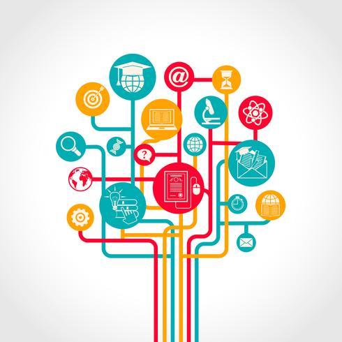Albero di educazione online vettore