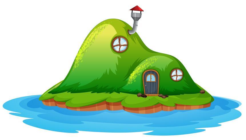Casa delle fate incantata sull'isola vettore