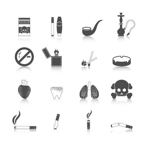 icona di fumare nero set vettore