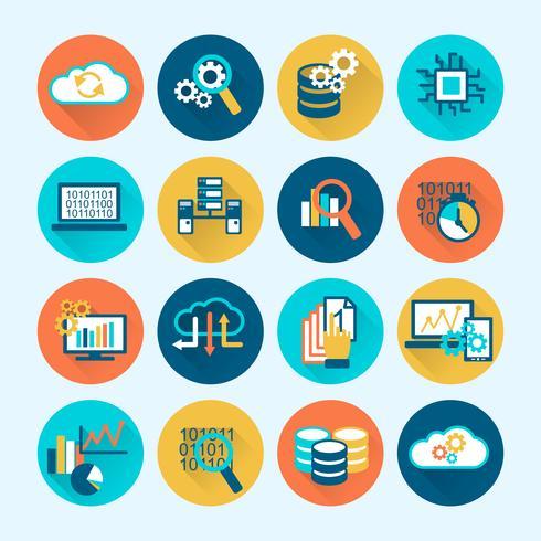 Icone di analisi dei database piatte vettore