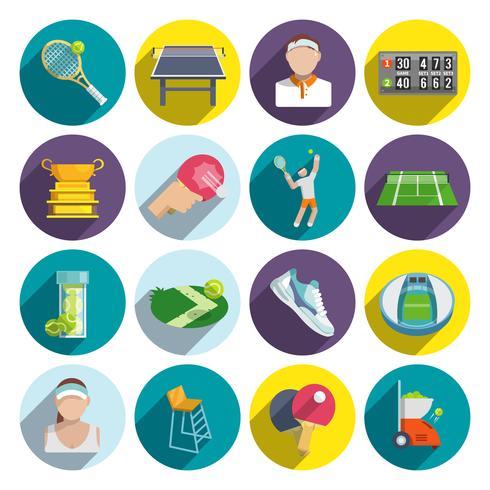 Set piatto di icone di tennis vettore