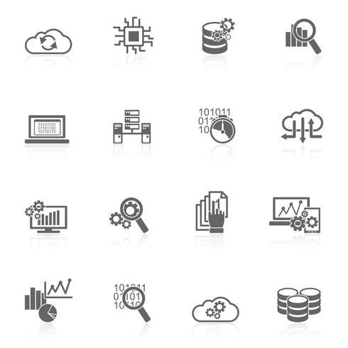 Icone di analisi dei dati del database nere vettore