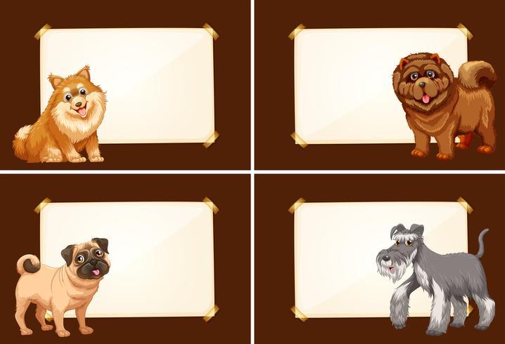 Quattro modelli di confine con cani carini vettore