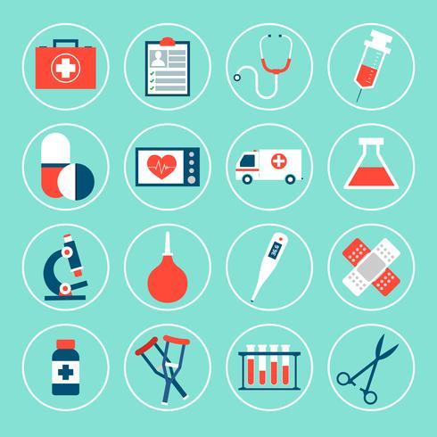 Icone di attrezzature mediche vettore