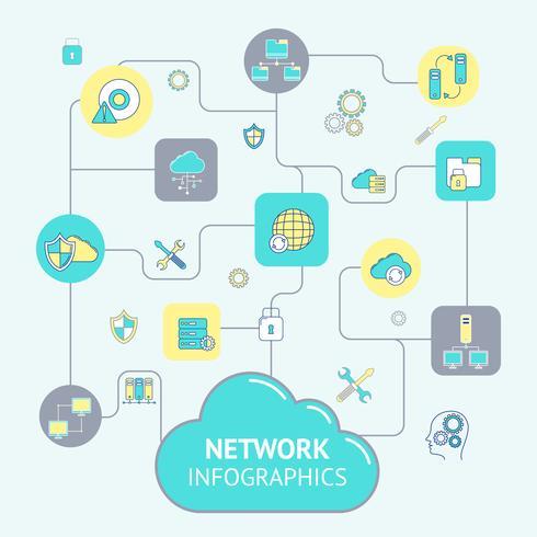 Infographics di rete e server vettore