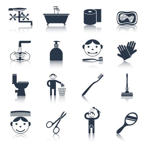 Icone di igiene nere vettore