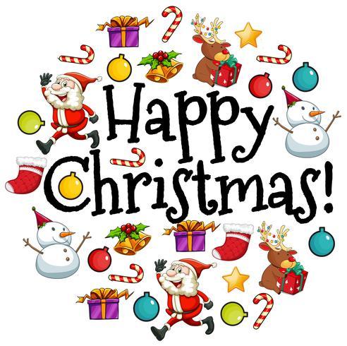 Cartolina di Natale felice con Babbo Natale e ornamenti vettore