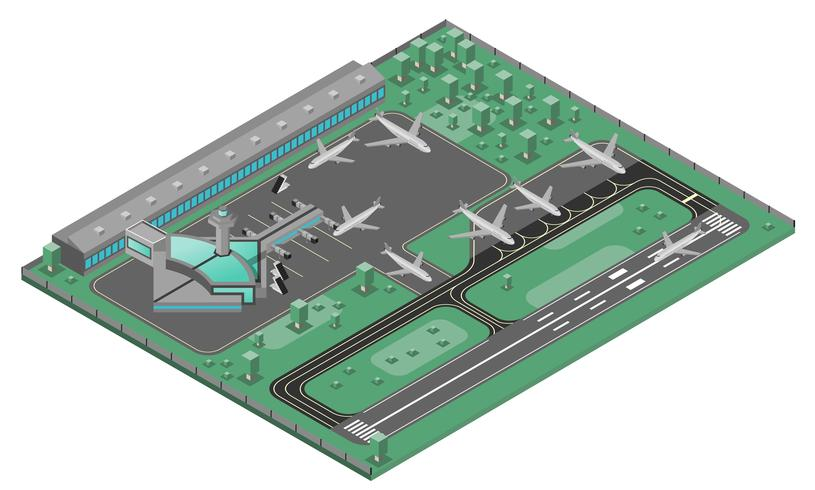 Concetto isometrico dell'aeroporto vettore