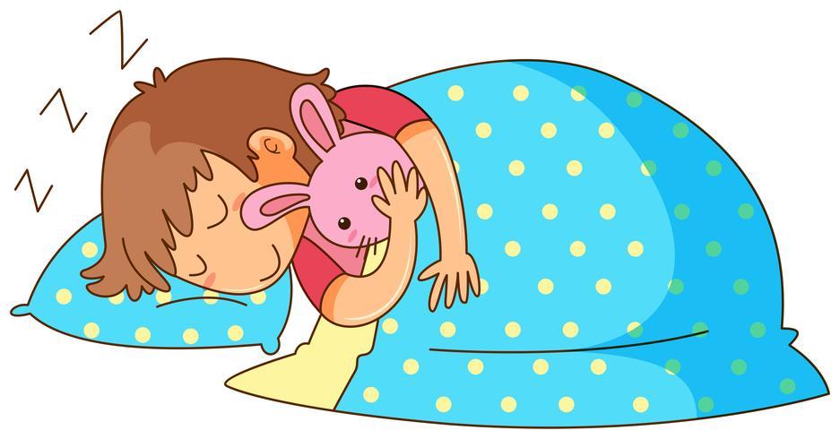 Bambina che dorme con la bambola del coniglietto vettore