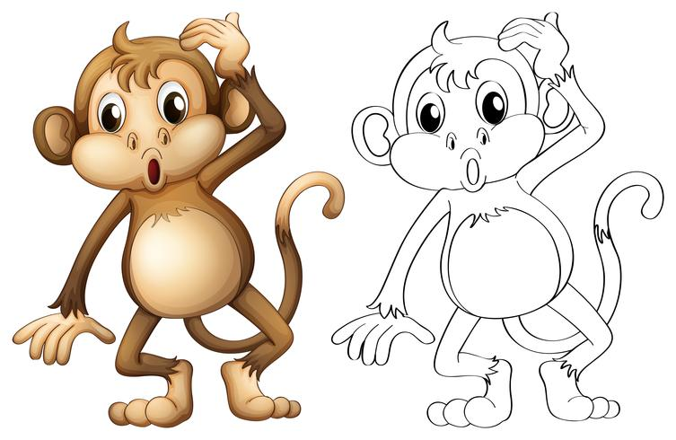 Doodles animale da disegno per scimmia vettore