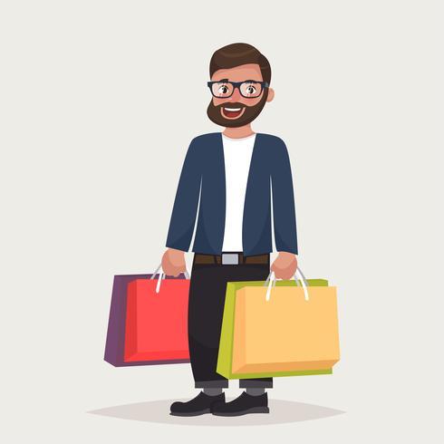 L'uomo barbuto hipster in occhiali sta acquistando con i pacchetti. vettore