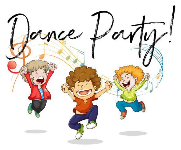 Tre ragazzi che ballano con note musicali sul retro vettore