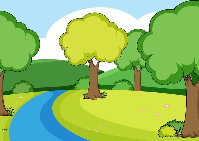 Una semplice scena fluviale vettore