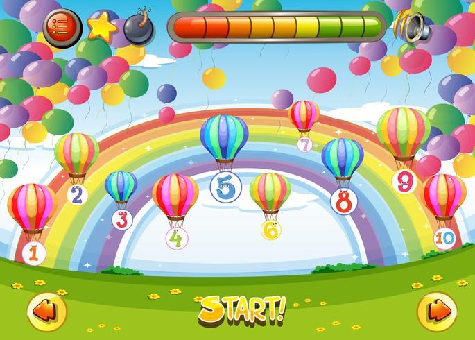 Modello di gioco con palloncini e numeri vettore