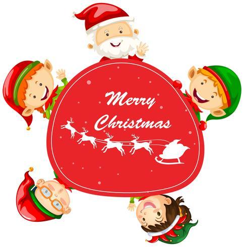 Modello di cartolina di Natale con Babbo Natale e elfi vettore